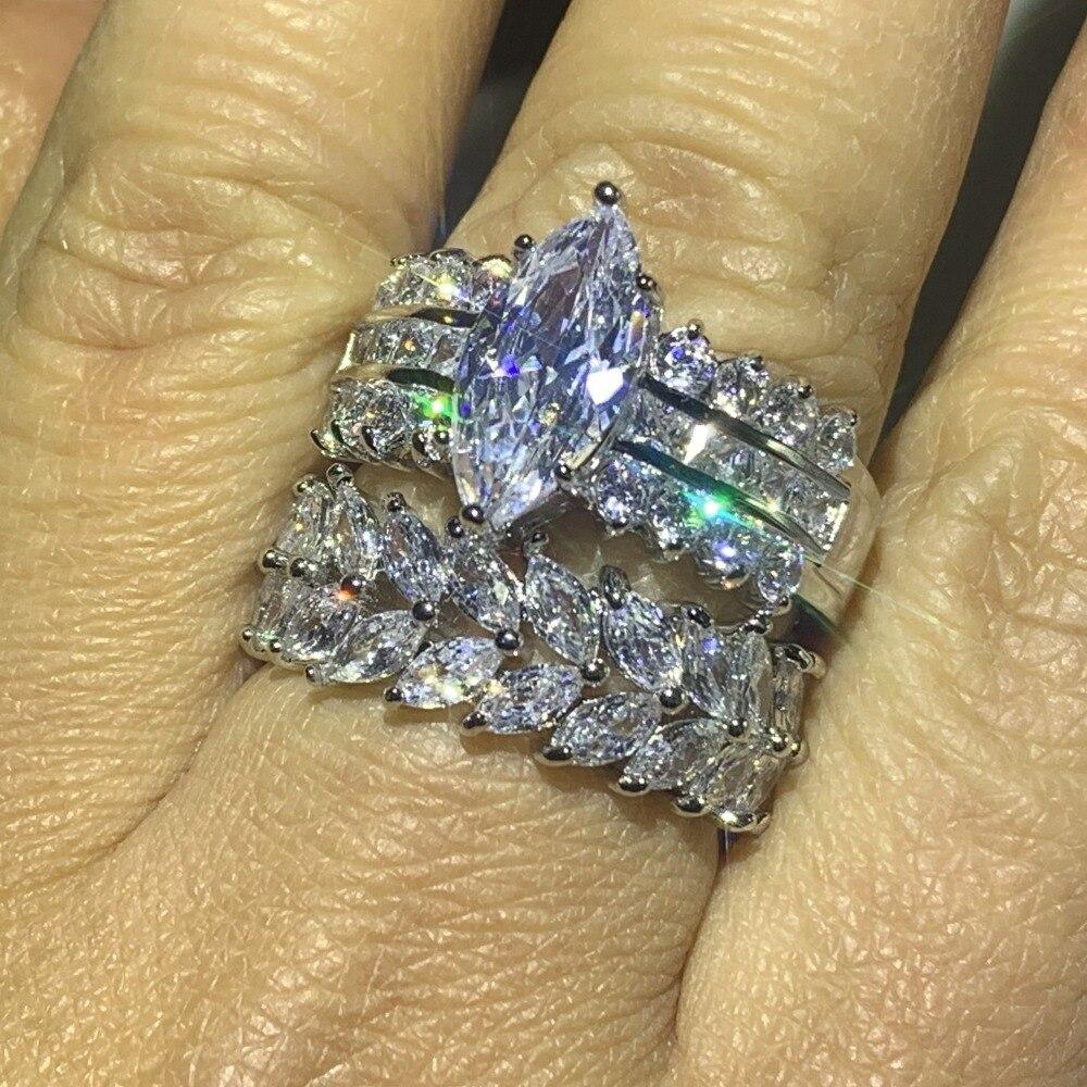Image 5 - 90% オフスーパーディール見事な高級ジュエリー 925 スターリングシルバーマーキス 5A CZ ジルコニアドロップ配送結婚式ブライダルリングセット婚約指輪   -