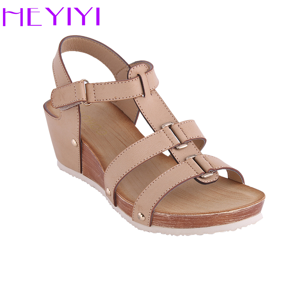 HEYIYI Shoes Women Sandals Platform Wedges Soft PU Leather Narrow Band Casual Lightweight Rivet Gladiator Round Toe Plus Size 32 43 big size summer woman platform sandals fashion women soft leather casual silver gold gladiator wedges women shoes h19