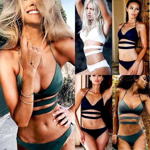 Black Friday Deals New 2018 Summer Women Bandage Bra Solid Bikini Set Swimsuit Swimwear Bathing Suit