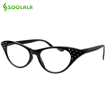 SOOLALA Brand Cat Eye Reading Glasses Women +1.0 1.5 2.0 2.5 3.0 3.5 Crystal Rhinestone Diopter Presbyopic Frame Glasses