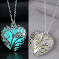 Heart necklace Pendants Glow in the Dark Gifts fashion Glowing Necklace for women Jewelry wholesale drop shipping