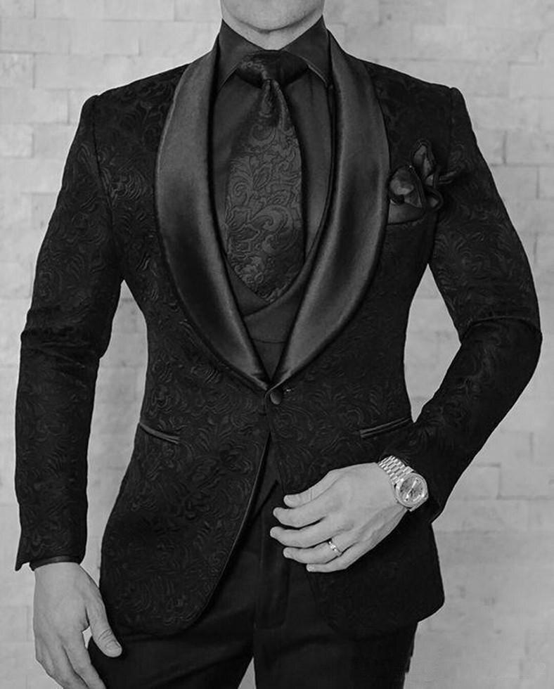 Черные смокинги жениха на одной пуговице с узором пейсли, шаль с отворотом для жениха, лучшие мужские костюмы, мужские свадебные костюмы(пиджак+ брюки+ жилет+ галстук - Цвет: 8