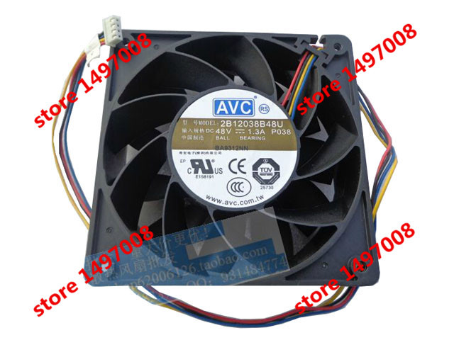 Free Shipping For AVC 2B12038B48U, P038 DC 48V 1.30A,  4-wire 4-pin150mm 120x120x38mm Server Square cooling fan