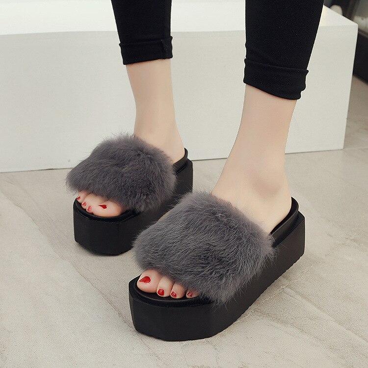 Женская обувь элегантные сандалии на высоком каблуке меховые шлепанцы с открытым носком Booties Sapato Feminino Plataforma Cunha