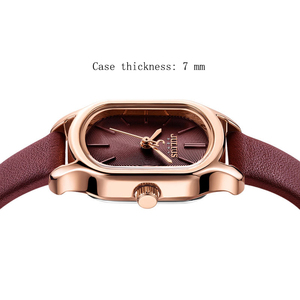 Image 3 - Julius Lady Retro Square Leather Woman Watch Casual Small Dial Quartz Wristwatches Female Dress Montre Femme Clock Gifts