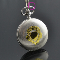 wholesale price good quality antique classical man getleman silver gold shield mechanical pocket watch necklace hour