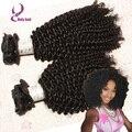 Mongol virginal rizada rizada afro del pelo humano clip ins clip en extensiones de cabello humano natural negro color 100 g/set 7 Unids