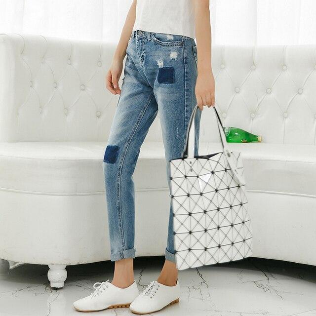 Высокое качество 2015 корейских свободного покроя свободно друг стиль жан отверстие капри лоскутная джинсы нищий брюки для женщин синих 26 - 30