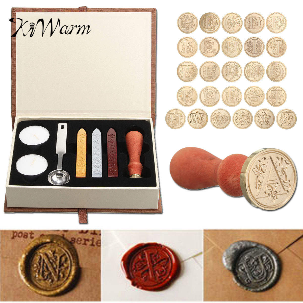 KiWarm New Lauched Romantic Gift A-Z 26 Alphabets Letters Sealing Wax Stamp Set 1* Wax Stamp 3*Wax Stick 1*Spoon Or Single Stamp creative wax envelope set literary romantic gift confession artifact the new year wedding gift