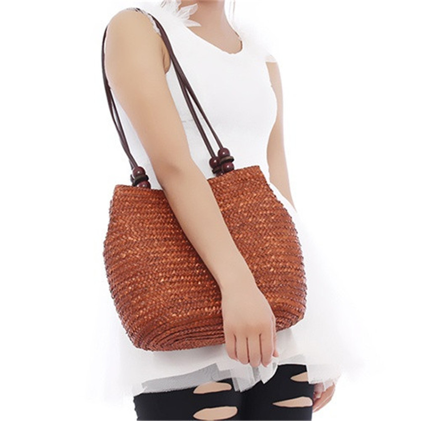 Women Retro Wooden Beads Beach Shoulder Bag trend bolsas femininas Straw Woven B