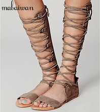 Punk Style Women Genuine Leather Gladiator Sandals Hollow Out Lace Up Flat Shoes Woman Casual Beach Flats Summer Knee High Boots