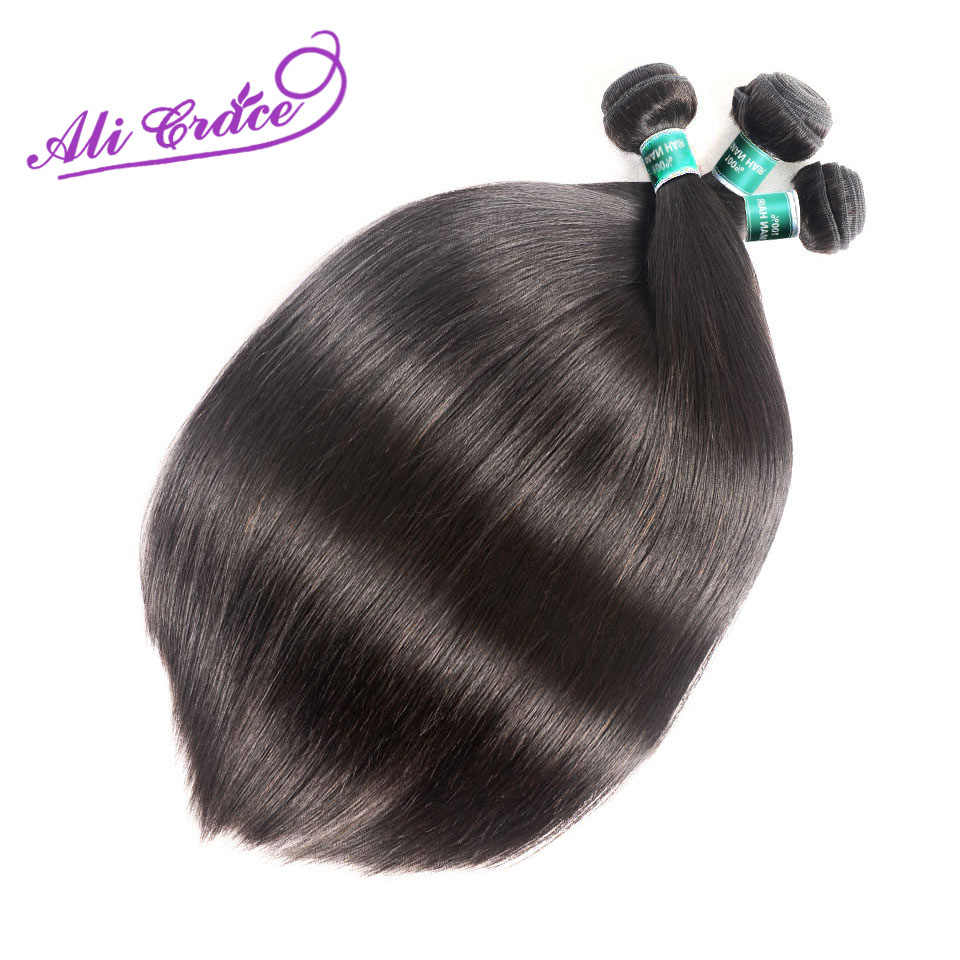 Ali Grace Peruvian Human Hair 3 Bundles With 4*4 Lace Closure 100% Remy Straight Hair Weave Peruvian Straight Hair With Closure
