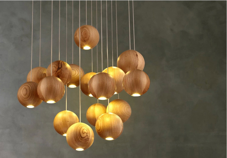 Modern Home Decoration 1/3/7/10/16 Lights Wooden Dining Room Chandelier Wood Ball Loft Light Living Room Light Free Shipping