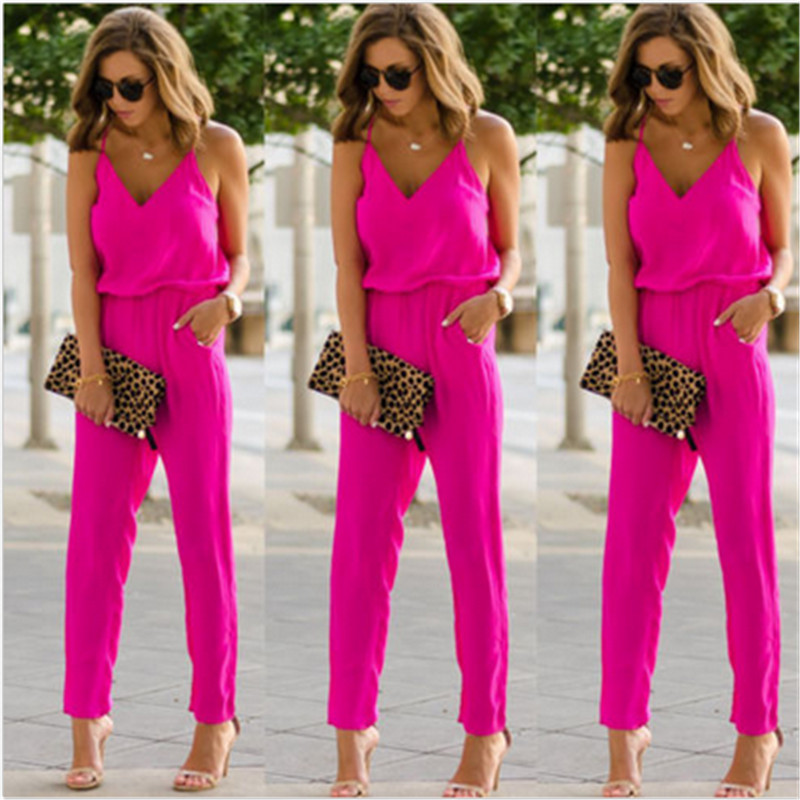 New Summer 2017 Sexy V Neck Women Jumpsuit Long Pants Solid Rompers Women's Sleeveless One Piece Bodysuit Jumpsuit