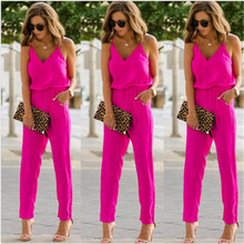 New Summer 2017 Sexy V neck Women Jumpsuit Long Pants Solid Rompers Women's Slee