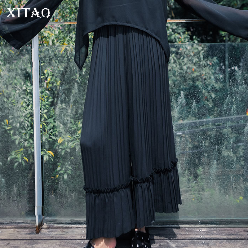 [XITAO] 2019 New Europe Loose Solid Color Flat Fashion Women Summer Elastic Waist   Wide     Leg     Pants   Slim Full Length   Pants   ZQ1909