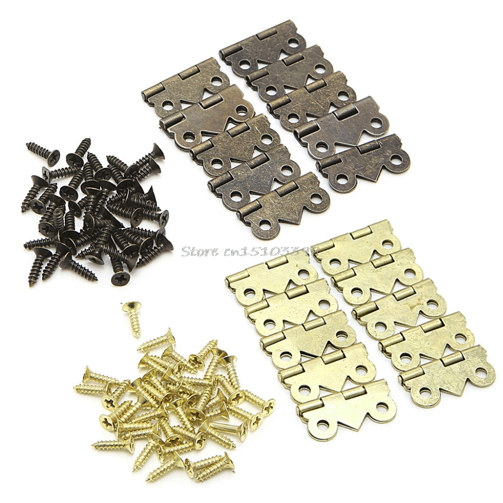 10x Mini Butterfly Door Cabinet Drawer Jewellery Box Hinge Furniture 20mm x17mm Furniture Hardware Hinges #G205M# Best Quality