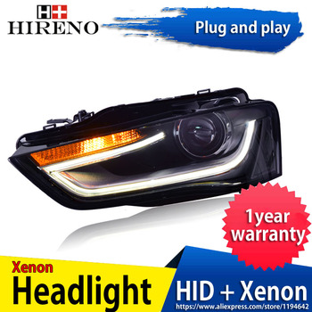 Hireno Headlamp for Audi A4 2013-16 car Headlight Assembly LED DRL Angel Lens Double Beam HID Xenon 2pcs