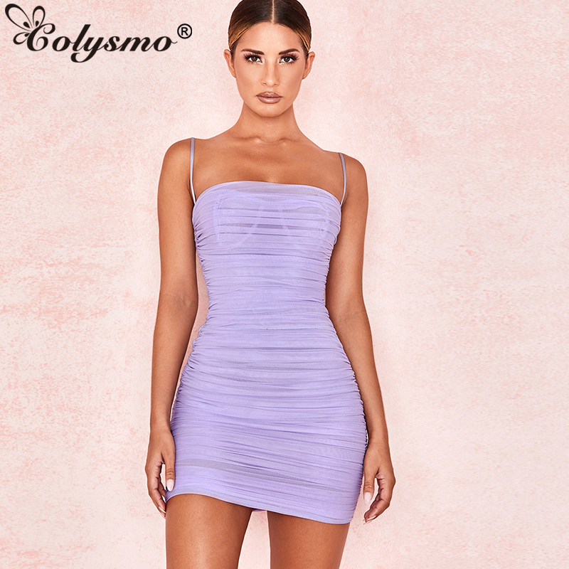 Colysmo Double Layers Summer Dress 2019 Women Spaghetti Straps Mini Dress Sexy Mesh Beach Dresses Woman Party Night Club Dress