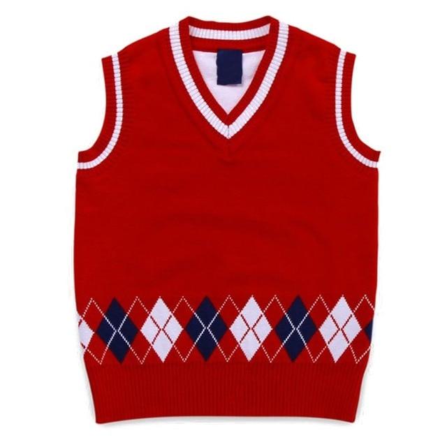Autumn/Spring Casual Kids Boys Girls Outerwear Sweater Vest Argyle V Neck Sleeveless Pullover Knit School Waistcoat 2-7T 6