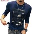 GustOmerD Nova Marca de Moda Casual de Alta Qualidade T Shirt Longo Da Luva O Pescoço Slim Fit Flor Impressão Tshirt Homme Oversize 5XL