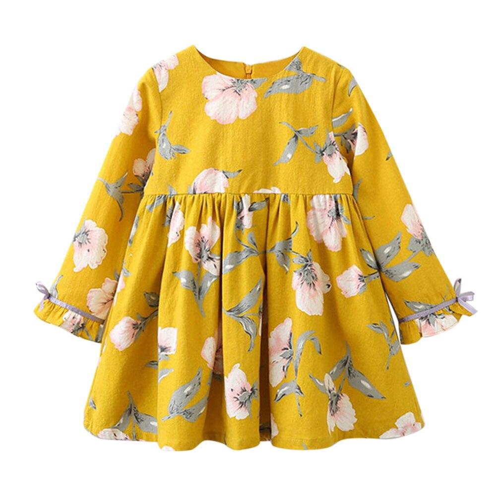 Fashion Toddler Kids Baby Girl dress hot Clothes Long Sleeve Floral Bowknot Party Princess Dresses vestido infantil baby dress