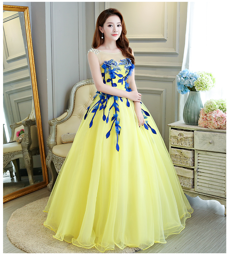 Evening Dresses 2018 Pastel Tulle Art Stage Dresses Embroidery Floral Ball Gown Formal Evening Party Dress Homecoming Dress