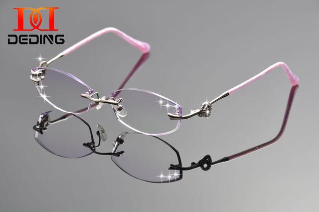 Deding мода титана очки кадр женщины алмаз обрезка полуободковые оптический очки mulheres óculos сем-драгоценный аро DD1247