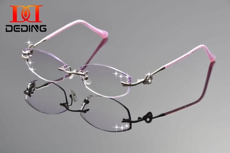 Deding mode lunettes de titane cadre femmes diamant coupe sans monture  optique lunettes cadre mulheres Oculos sem aro DD1247 33459ccaaaa5