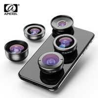 APEXEL lente móvil 5 en 1 HD gran angular macro lente ojo de pez telescopio zoom lente para iPhone X XS max Samsung s9 plu smartphones