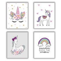 Set of 4 Rainbow Art Painting Unicorn Gift for Girls Canvas Painting Posters and Prints Wall Pictures for Kids Room Home Decor