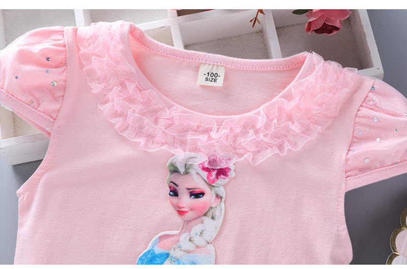 Girls New Summer Princess T-Shirt Elsa Childen Cotton Tees Lace T Shirt 3D Diamond Appliques Kids Birthday Party Top Clothing 8