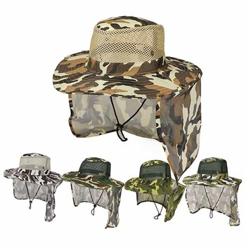 Hot Fishing Hat Wide Brim Breathable Mesh Unisex Outdoor Sport Fishing Hiking Hat UV Protection Face Neck Flap Man Sun Cap new outdoor sports hat men camping hiking fishing hat man sun cap camouflage breathable