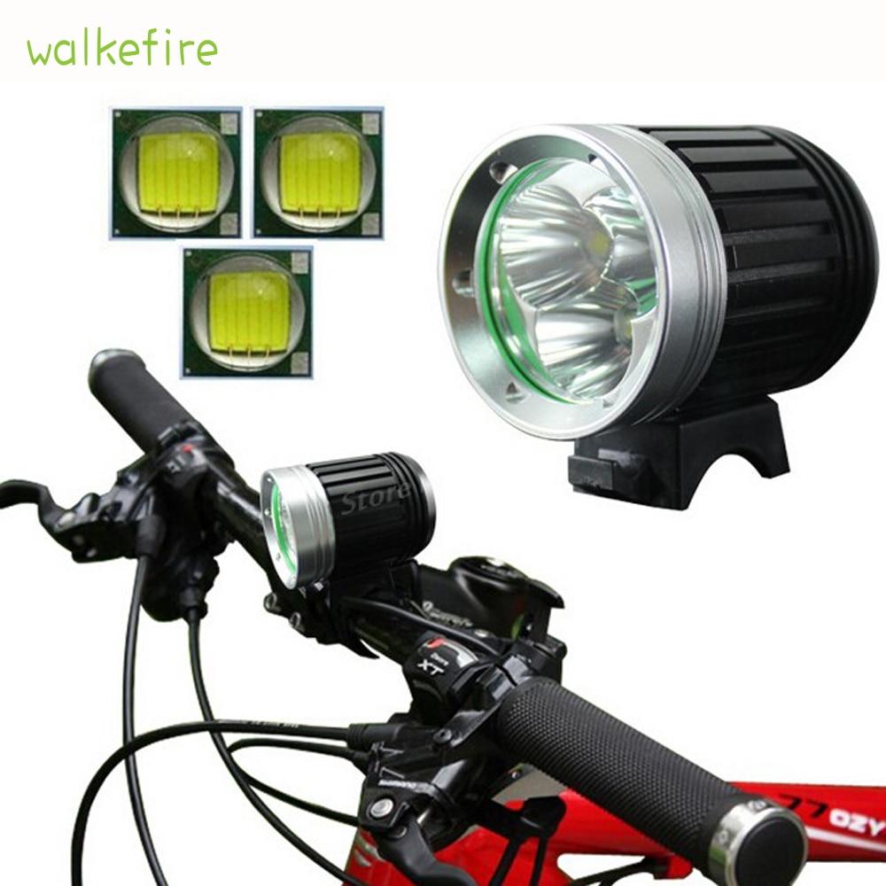 Walkefire 5000Lumens επαναφορτιζόμενες οδηγήσεις φώτα ποδηλάτου 3xT6 LED μπροστινό ποδήλατο λάμπα ποδήλατο ποδήλατο φως + 8.4V 6400mah μπαταρία + φορτιστής
