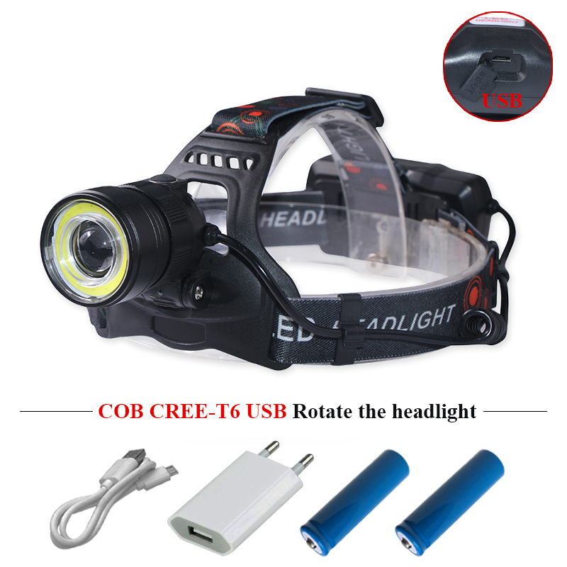 Cob LED Headlamps Dual Light Source Zoom Usb Headlight CREE Xml T6 Camping Head Torch Head Frontal Lamp Charge Lanterna 2x18650