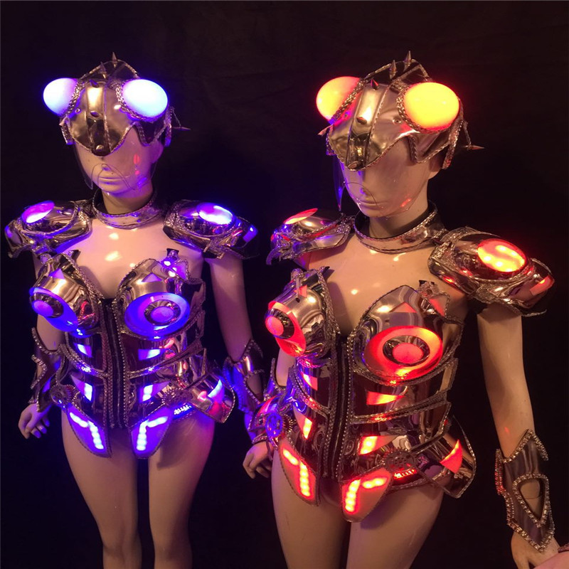 AS99 Ballroom robot costumes women led light dress with helmet colorful led costumes bar singer stage cosplay wears clothes bra