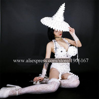 Nightclubs DS White Christmas Costumes Snow Queen Dance Team GOGO Christmas Clothes Sexy Lady Party Dress