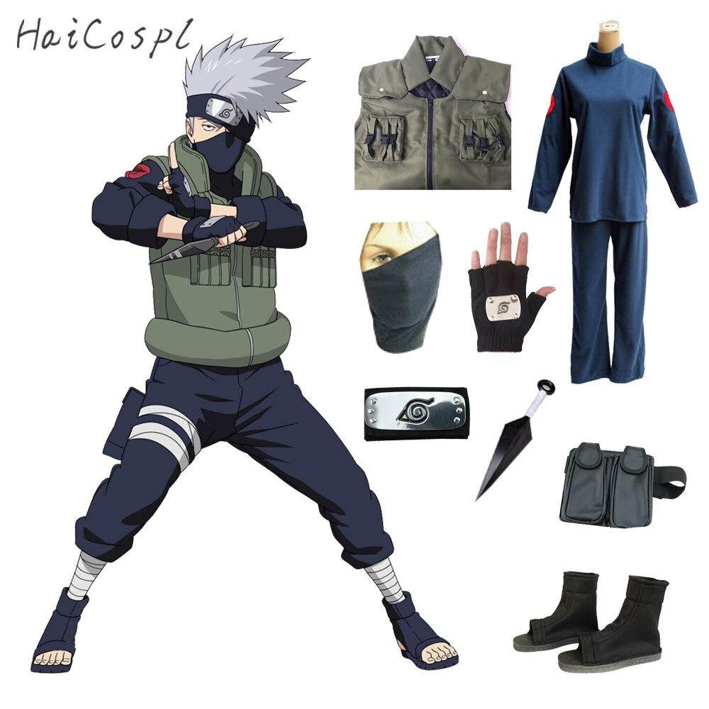 Hatake Kakashi Cosplay Costume Tenue Anime Naruto Jeu de Rôle Fantaisie Adulte Fête Déguisement Avec Gilet Chaussures Bandeau Masque Sac à Gants