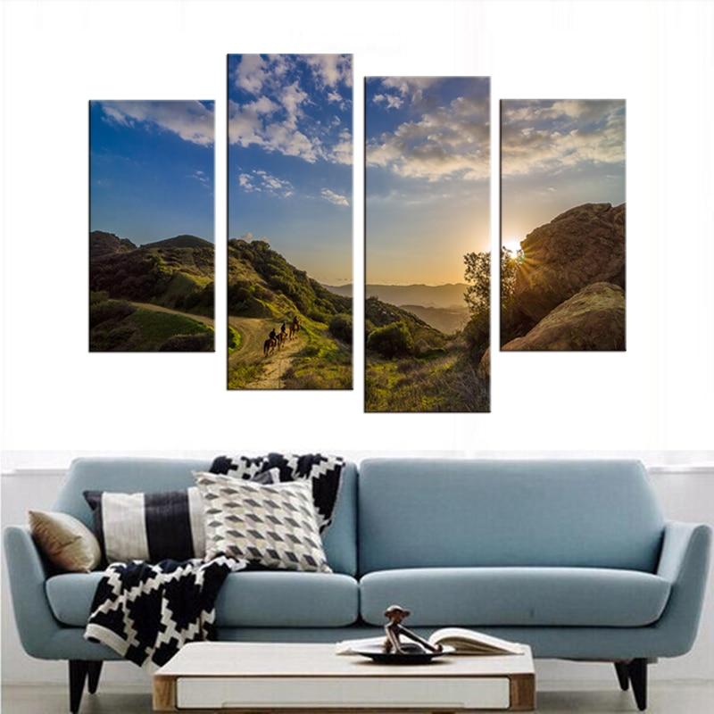 4 mūsdienu saulrieta akmens klinšu ainavu gleznojums dekoratīvā - Mājas dekors - Foto 3