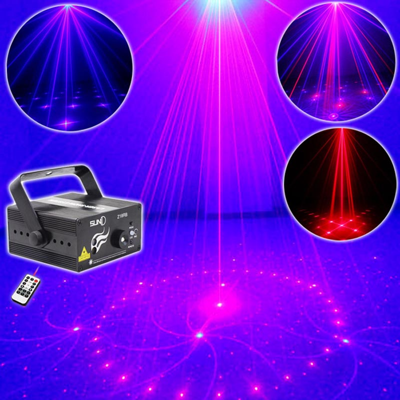 Remote Control Mini Laser Project Show Lights RB 18 Patterns LED Dancing Overhead Lighting For KTV Club Disco Dj Parties 9W niugul dmx stage light mini 10w led spot moving head light led patterns lamp dj disco lighting 10w led gobo lights chandelier