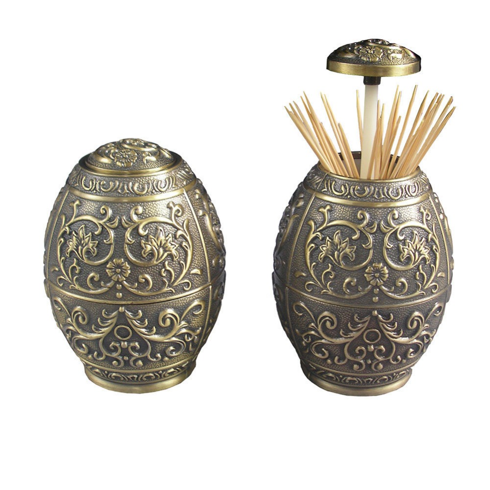 Ever Perfect Antique Style Oval Metal Retractable Toothpick Holder Toothpick Dispenser Box For Home hotel Decoration