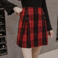 2017 Autumn Short Skirt Harajuku Retro Rock Punk Black Red Plaid Circle Mini Skirt For Women