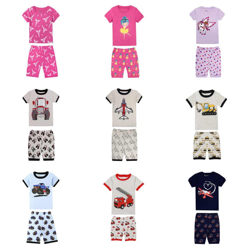 Summer Boys Pajamas Girls Pajama Sets Children s Sleepwear Baby Pijamas Pyjamas  Kids Rockets Excatavor Airplane Unicorn 64d62cb00