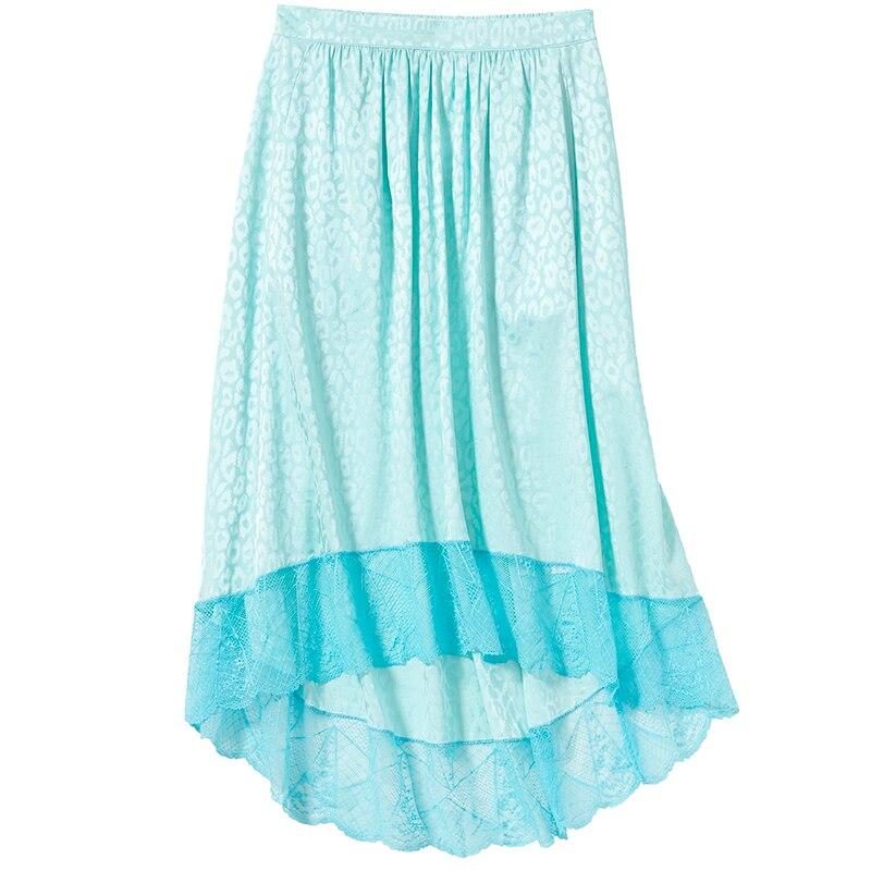 امرأة الأزرق JOSLIN JAC ليو تنورة 100% الحرير الجاكار حريري الدانتيل تفصيل تنحنح غير المتماثلة طويلة التنانير مع جيب مرونة waitband-في تنورة من ملابس نسائية على  مجموعة 1