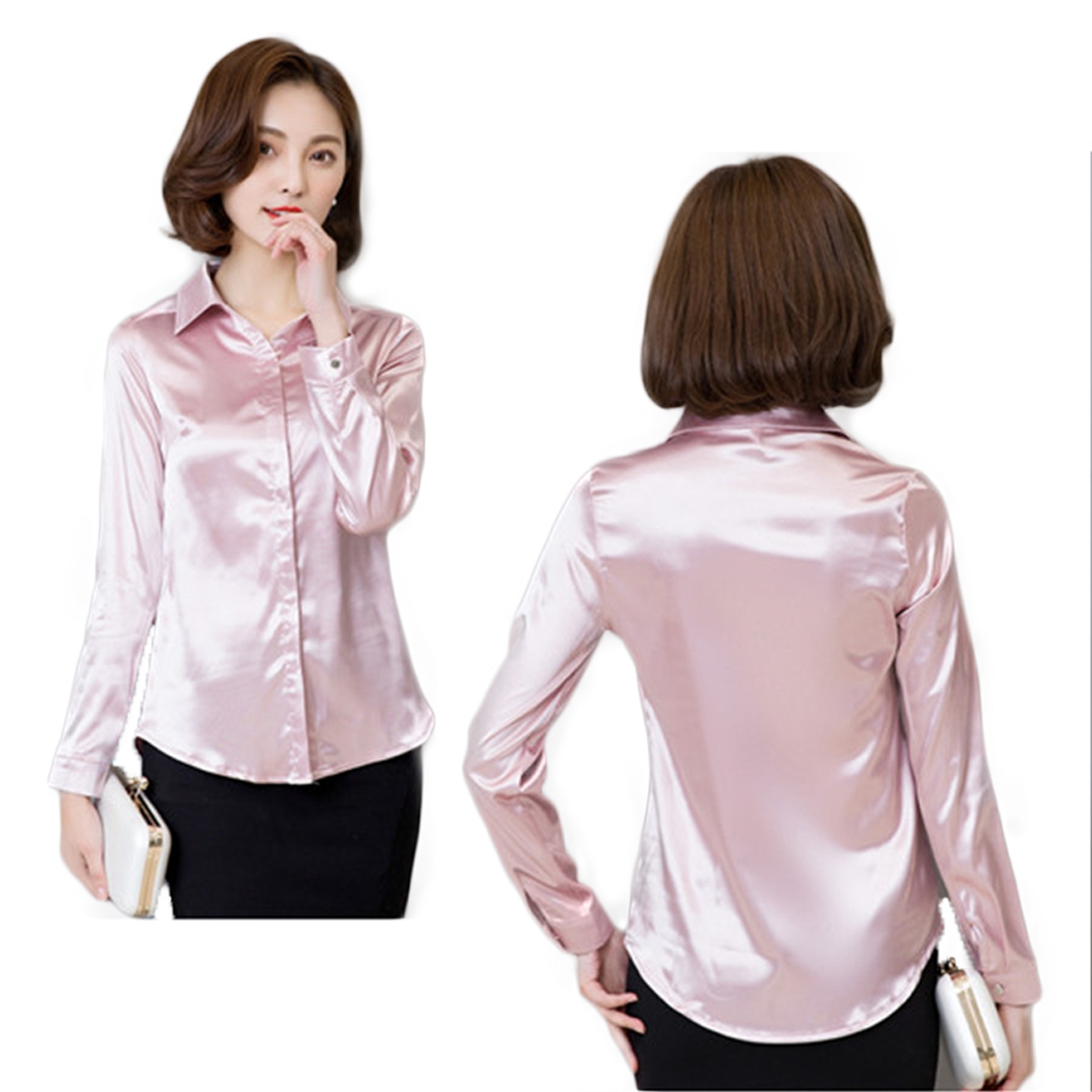 90178704dc2b76 Women Satin Silk Long Sleeve Button Down Shirt Formal Work Business Silky  Shiny Blouse Top Elegant Fashion M 3XL 7 Colors-in Blouses & Shirts from  Mother ...