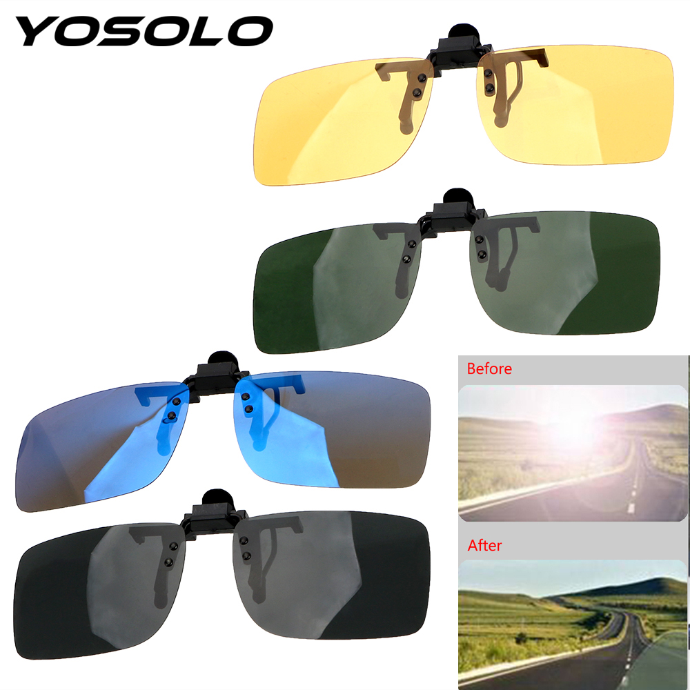 YOSOLO Car Driver Goggles Anti-UVA UVB  Polarized Sun Glasses Driving Night Vision Lens Clip On Sunglasses Interior Accessories