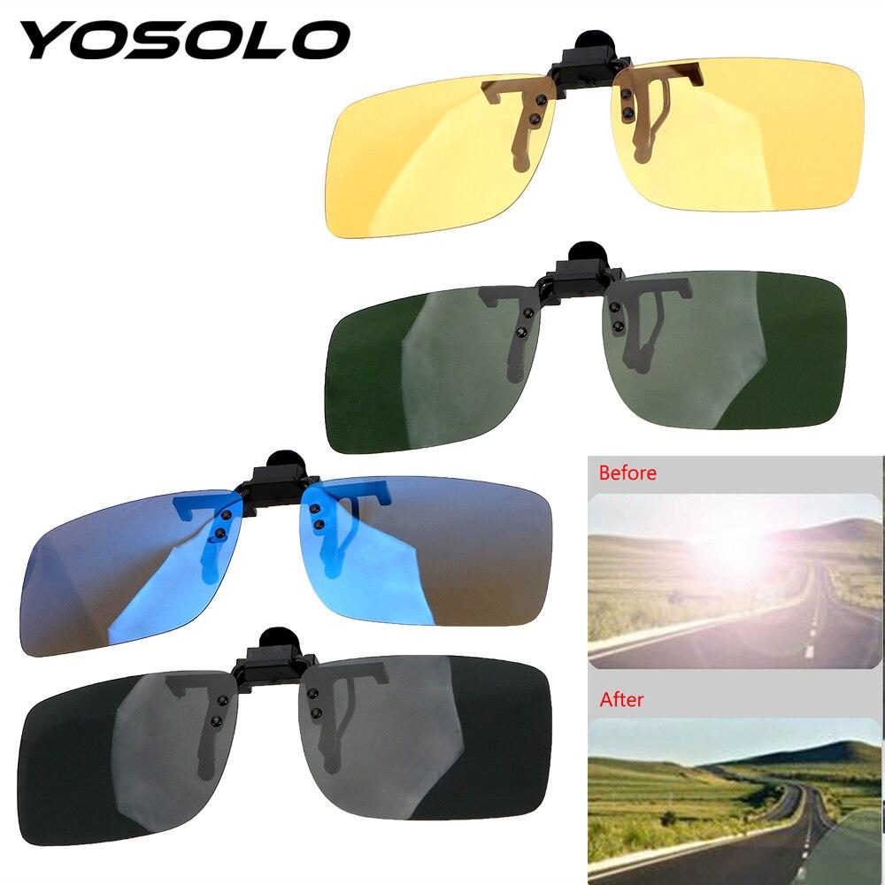 Yosolo motorista de carro óculos anti-uva uvb polarizado óculos de sol condução lente visão noturna clipe em óculos de sol acessórios interiores