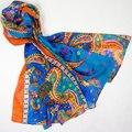100% Шелковый Шарф Женщин Шарф Пейсли Большой Шелковый Платок 2017 Топ шелк Пашмины Длинный Большой Печати Шелковый Wrap Горячая Роскошный Подарок для леди