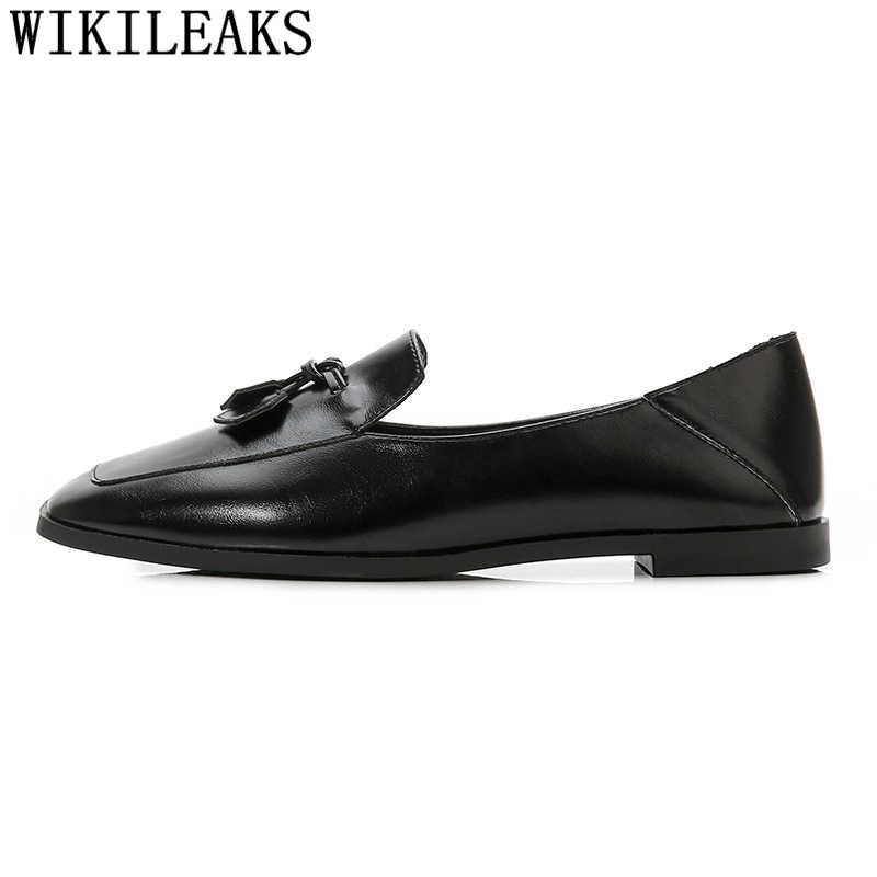 Klimplanten lederen schoenen vrouwen zwart flats harajuku schoenen dames platte schoenen loafers vrouwen grote maten schoenen vrouw zapatillas mujer