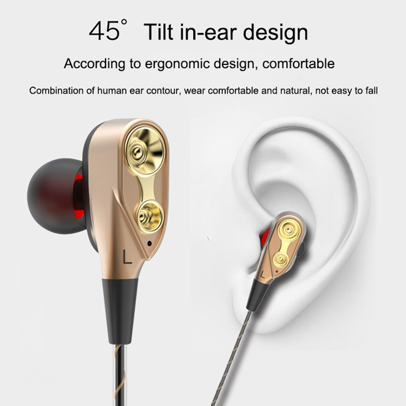Dual Driver Earphones Stereo Bass Sport Running Headset HIFI Monitor Earbuds Handsfree With Mic fone de ouvido For Apple Phone X